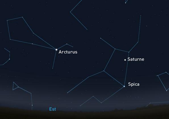 Saturne dans la constellation de la vierge, le 2 avril à 22h30. Crédit : Stellarium