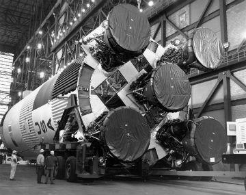 Premier étage d'Apollo 11. Crédit : Nasa/Ciel et Espace Photos