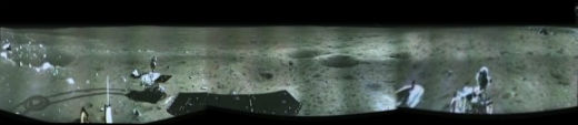Premier panorama lunaire de Chang'e 3. Crédit : CNSA/CCTV/screenshot mosaics and processing by Marco Di Lorenzo/Ken Kremer  Read more: http://www.universetoday.com/107436/yutu-moon-rover-sets-sail-for-breathtaking-new-adventures/#ixzz2oO6pBGmN
