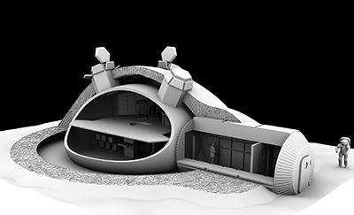 Concept de base lunaire ESA. Crédit : Foster+Partners/ESA